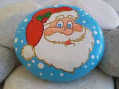 Large Santa Claus Portrait Original Handpainted Beach Stone Art Christmas Gift 4 '' x 3,6 ""