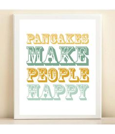 "Aqua & Yellow ""Pancakes Make People Happy"" print poster op Etsy, 11,26€"