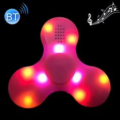 [$4.07] Bluetooth V4.0 Speaker Glowing Fidget Spinner Toy Anti-Anxiety Toy with RGB LED Light for Children and Adults, 1.5 Minutes Rotation Time, Big Steel Beads Bearing + ABS Material, No USB Cable(Pink)