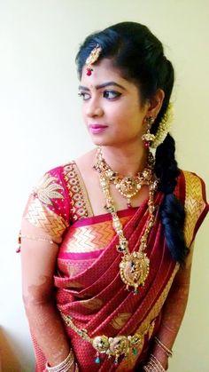 South Indian bride. Temple jewelry. Jhumkis.Red silk kanchipuram sari.side Braid with fresh jasmine flowers. Tamil bride. Telugu bride. Kannada bride. Hindu bride. Malayalee bride.Kerala bride.South Indian wedding.