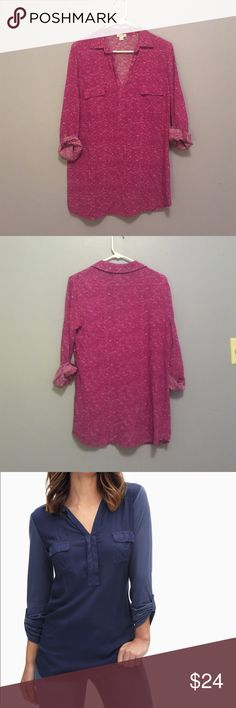Splendid 3/4 Sleeve Purple Tunic top 100% rayon shirt. worn once, like new! it is super soft and drapey and flattering. the color is a magenta or pink toned purple textured fabric (first photo for color). the fit is super close to the last photo, but i think a bit looser like a tunic! Splendid Tops