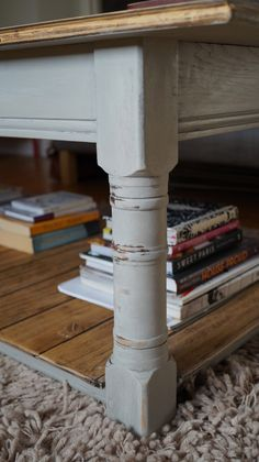 Two tone, upcycled oak coffee table. Detail of paint. Annie Sloan Chalk Paint in Paris Grey