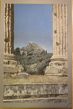 View of Lycabettus Hill from The Temple of Olympian Zeus, Athens ,Greece. Colored Prismacolor pencil on gray tone paper. A major landmark at 300 meters (908 feet) above sea level, and visible from almost anywhere in the city, Lycabettus summit is the highest point in Athens.