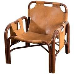 Bamboo and Leather Armchair by Bonacina