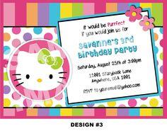 Hello Kitty Invitation - Hello Kitty Birthday Invitations - Party Printable Invite - Rainbow Stripes - Photo Option -- 3 Designs