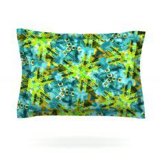 "Michael Sussna ""Pollenesia"" Teal Green Pillow Sham"