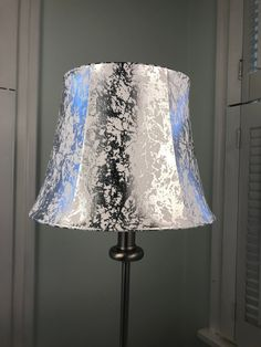 Your place to buy and sell all things handmade Grey Lamp Shades, Small Lamp Shades, Contemporary Lamp Shades, Modern Lamp Shades, Pole Lamps, Silver Lamp, Lamp Bases, A Table, Barrel