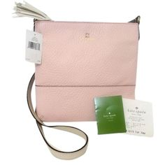 Pre-owned Kate Spade Cora Southport Avenue Pink Ballet Slipper Cross... ($119) ❤ liked on Polyvore featuring bags, handbags, shoulder bags, pink ballet slipper, leather crossbody handbags, leather purses, light pink purse, leather shoulder handbags and leather fringe purse