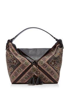 Paisley Print PU Leather and Suede Weekender Bag