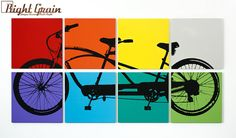 Multicolored Tandem Bicycle Wall Art Large Bike by RightGrain