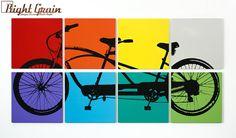 Multicolored Tandem Bicycle Wall Art - Large Bike Screen Print - 24x48 Custom Made