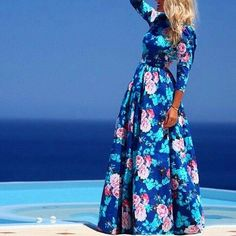 Vintage+Women+Boho+Floral+Print+Long+Sleeve+Party+Cocktail+Evening+Maxi+Dress+#Unbranded+#Maxi+#CasualCocktailFormal