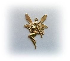10 Art Nouveau FAIRY Raw Brass Charms and Jewelry Findings (H)