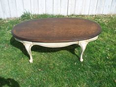 Painted oval Lane coffee table by ReclamationAlley on Etsy