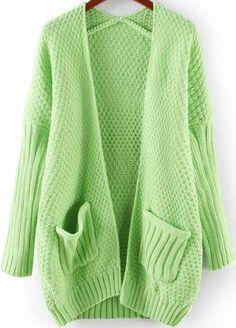 Green Long Sleeve Pockets Loose Knit Cardigan 35.00