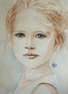 """""""Attitude"""" watercolor by Michal Madison (vintage feel painting of a young girl with wispy pulled-up blonde hair and blue eyes) copyright 2014 www.MichalMadisonArt.net/galleries.html"""