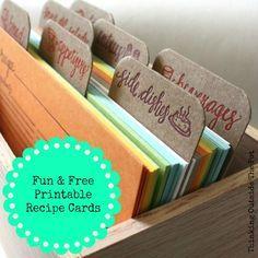 Fun & Free Printable Recipe Cards