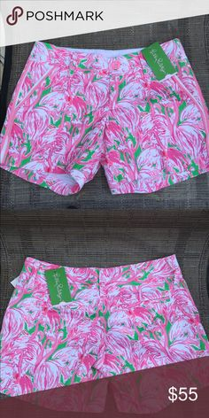 Lilly Pulitzer Callahan Short  Lilly Pulitzer Shorely Blue Buttercup Short.  Prep Green Pink Colony Style.  Perfect look for a girl who loves pink!  Lilly Pulitzer Shorts