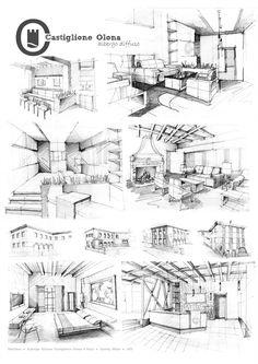 Architectural sketches 550424385683107241 - Albergo diffuso – Castiglione Olona – 2013 on Behance Source by andrianarylala Drawing Interior, Interior Design Sketches, Interior Rendering, Sketch Design, Interior Architecture, Design Art, Perspective Architecture, Perspective Sketch, Croquis Architecture