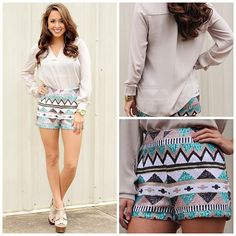 Aztec High Wasted Shorts