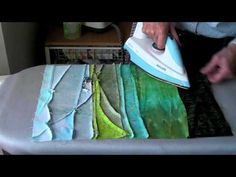 Landscape Quilts Piece by Piece - Piecing fabrics - When to Iron! Patchwork Tutorial, Strip Quilts, Mini Quilts, Quilting Tutorials, Quilting Designs, Art Quilting, Machine Quilting, Ocean Quilt, Fiber Art Quilts