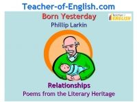 Born Yesterday (Larkin) Phillip PPT Key Stage 4 or Intermediate 2 Powerpoint English Teaching Resource