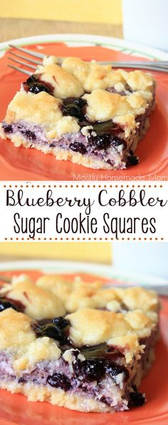 Blueberry Cobbler Sugar Cookie Squares - Sweet blueberry cheesecake filling sandwiched between sugar cookie cobbler - so simple and irresistible! # Desserts recipes Blueberry Cobbler Sugar Cookie Squares - Mostly Homemade Mom Potluck Desserts, Quick Dessert Recipes, Cookie Desserts, Healthy Desserts, Easy Desserts, Cookie Recipes, Sugar Cookie Cheesecake, Blueberry Cheesecake Bars, Blueberry Bars