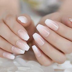 Ombre French Nails, French Tip Nails, Nail Manicure, Manicures, Natural Fake Nails, Milky Nails, Nail Remover, Nail Length, Bride Nails