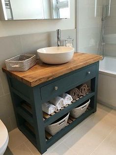 Solid Oak Vanity Unit-Washstand-Bathroom Furniture-Bespoke-Rustic
