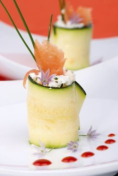Photo about Two Zucchini Rolls with smoked salmon and herbed Goat cheese. Image of healthy, roll, prepared - 7286677 Zucchini Rolls, Cucumber Rolls, Fresh Chives, Smoked Salmon, Food Inspiration, Cantaloupe, Panna Cotta, Cheese, Fruit