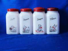 Vintage Hazel Atlas Milk Glass Westie Range Set.