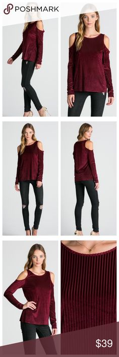 "Velvet Romance Cold Shoulder Blouse A Must have this Holiday Season! Deep Burgundy Velvet Cold Shoulder Cutout Top with Striped Detailing. Soft and Lightweight with a Semi Sheer Appearance. Perfect for Holiday Parties and Festivities 🎄 Shop here or at www.shopbelovedboutique.com ❤️  Material: 90% Poly 10% Spandex  Measurements: Small: B-16"" L-27"" Medium: B-17"" L-27.5"" Large: B-18"" L-28"" Tops Blouses"