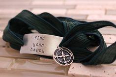 Custom Silk Wrap Bracelet  Find Your Happy  by BobbieJoDesigns, $29.99