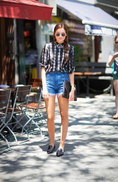 Jen Kao Blouse (c/o Elizabeth Charles) | FRAME Denim Shorts | Miu Miu Loafers | Sedgwick Clutch