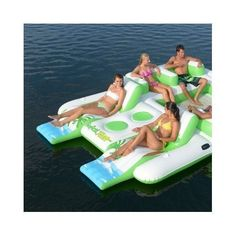 Inflatable Swimming Lake Raft Pool 6 Person Floatation Island Floating Lounge | eBay