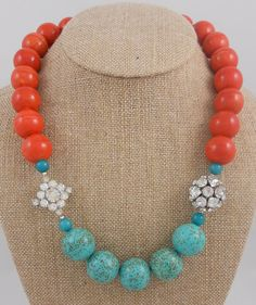 Coral and Turquoise with Rhinestones.