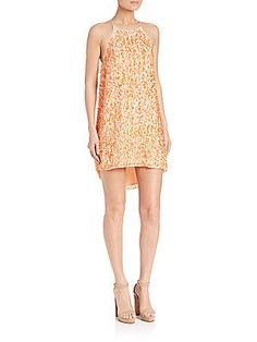 Halston Heritage Paillette Slip Dress - Peach Blush - Size