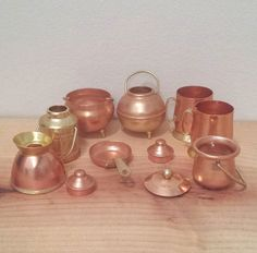 Miniature Copper and Brass Dollhouse Pots and Pans, Tea Pot, Frying Pan, 11 pieces, doll house kitchenware set.