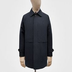 Five-button coat, made in London, with black-navy Ventile Ripstop from Lancashire, and dark horn buttons from the West Midlands.