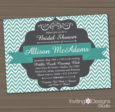 Printable Bridal Shower Invitation, Wedding Shower Invitation, Aqua, Teal, Gray, Customize Colors, Chevron, Vintage, PRINTABLE FILE on Etsy, $18.00
