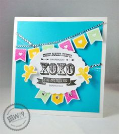 Kerrianne Gwin for Wplus9 featuring Cupid's Arrow stamps and dies, and Banner Love stamps.