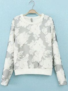 White Long Sleeve Floral Loose Sweatshirt pictures