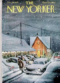 size: Premium Giclee Print: The New Yorker Cover - December 19 Art Print by Charles Saxon : New Yorker Covers, The New Yorker, Pop Art Decor, Framed Artwork, Wall Art, Thing 1, Spring Landscape, Winter Art, Sale Poster