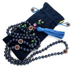 8mm Dumortierite 108 Tibetan Style Full Buddhist Malas, Mala Necklace, Knotted Gemstone Mala Beads Japa Meditation Yoga  free mala bag. $68.89, via Etsy.