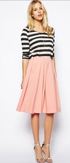 Large Pleated Peach Skirt
