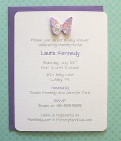 Purple and Pink Shabby Chic Butterfly Cabbage Roses Baby Shower Linen Invitations  This listing is for a set of 10 cards. When ordering choose -