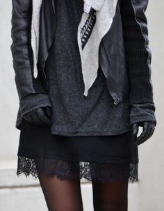 Leather jacket from Zara, Knit from H&M, Dress from Oh My Love, Scarf from Lala Berlin, Boots from Envii and Gloves from & Other Stories