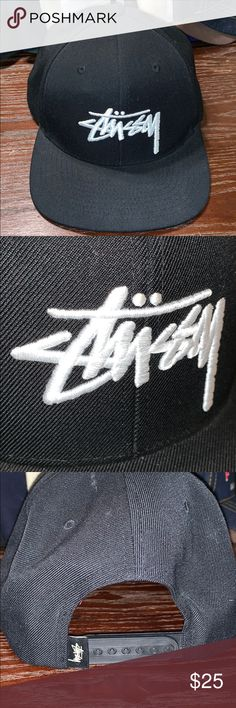 8fd0b121778 Shop Men s Stussy Black White size OS Hats at a discounted price at  Poshmark. Description  Stussy Snapback hat great used condition.