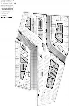 Floor Plan | Library and Learning Center University of Economics Vienna | Zaha Hadid Architects University Architecture, Zaha Hadid Architecture, Museum Architecture, Architecture Plan, Architecture Websites, Hospital Architecture, Computer Architecture, Architecture Collage, Chinese Architecture