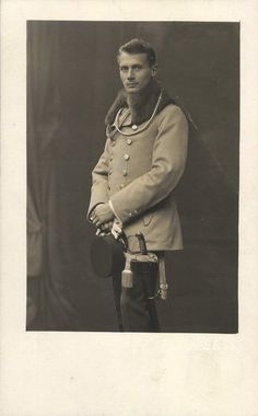 Austrian WWI Cavalry Soldier with Saber, 1916 Studio Photo